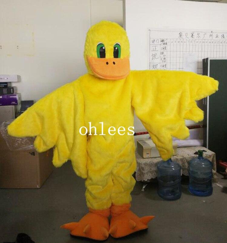 Ohlees jaune canard oiseau mascotte costumes pour adulte vente halloween fête noël tête robe personnalisée livraison gratuite