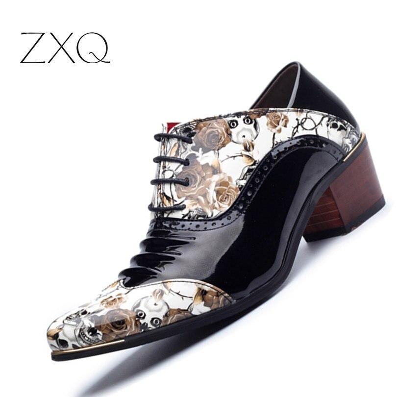 Neue 2017 Mode Mittlere Ferse Lackleder Spitze Oxfords Schuhe Männer Schädel Muster Partei W Schuhe männer Kleid Schuhe