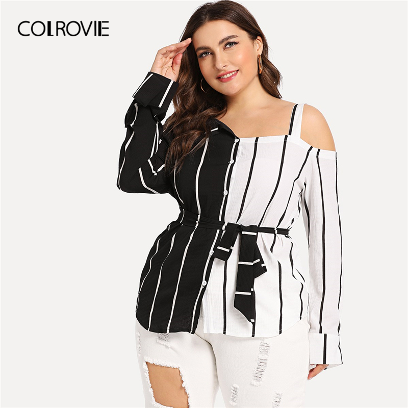 COLROVIE Plus Size Burgundy Striped Open Shoulder Blouse Shirt Women Clothing 2019 Spring Long Sleeve Shirts Elegant Ladies Tops