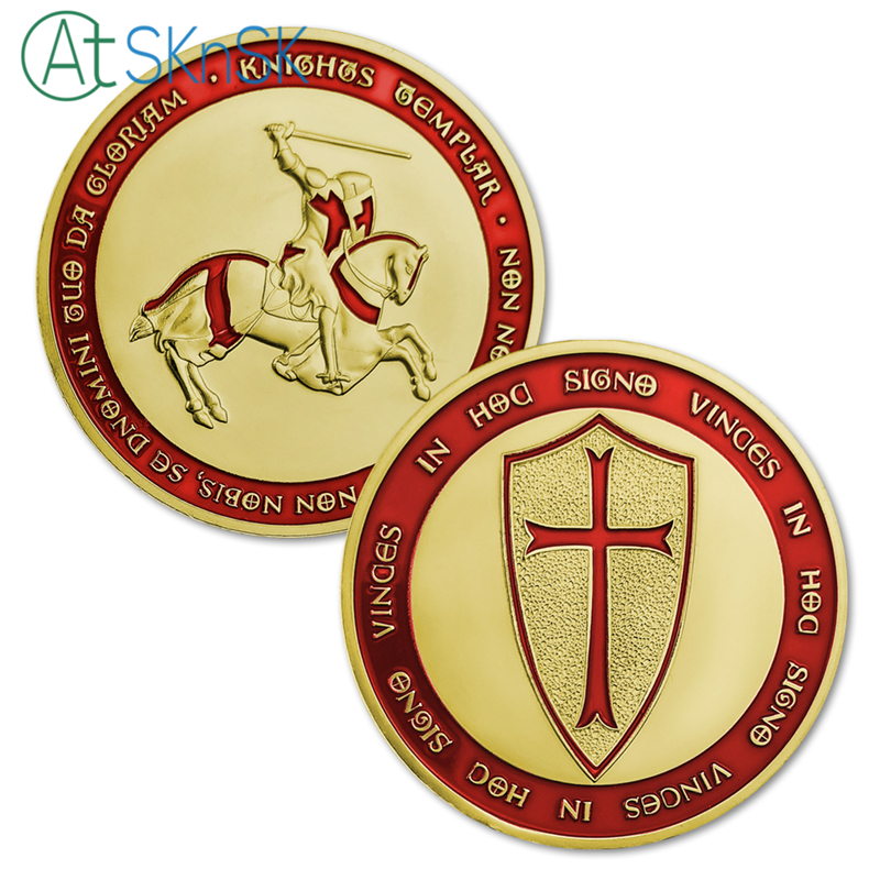 Ornaments Non-currency Coins 50pcs/lot Gold Clad 1oz Red Color Templar Knight Cross Coins Poor Knight Of Christ And Templar Of Solomon Famous Gift Coins Modern And Elegant In Fashion