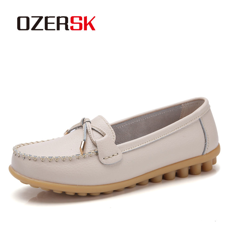 OZERSK Genuine Leather Flats Casual Slip On Loafers Woman Shoes Comfortable Soft Bottom Flat Shoes Vintage Style Woman Footwear