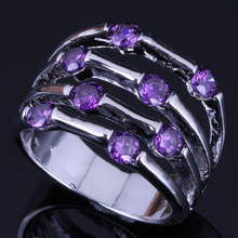 Gallant Purple Cubic Zirconia 925 Sterling Silver Ring For Women V0559