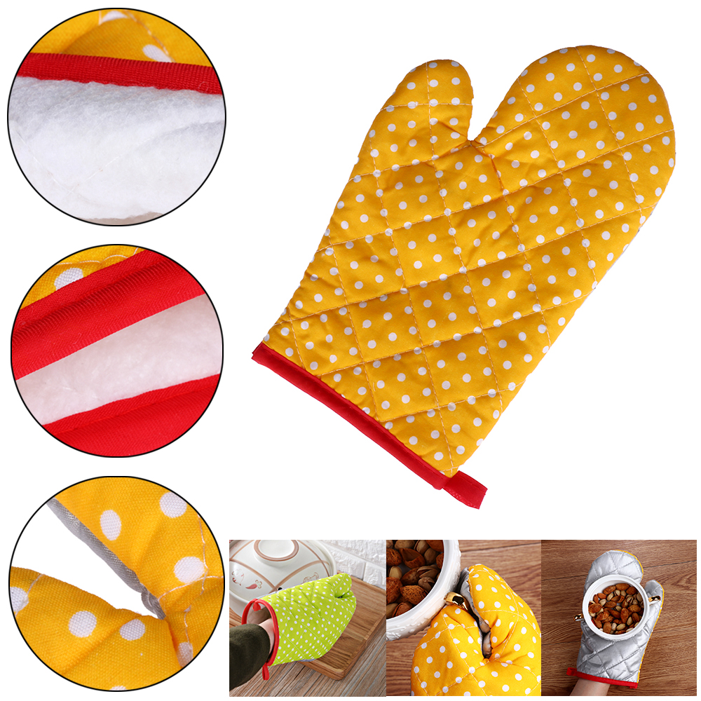 Resistant Baking Tool Thick Oven Gloves Microwave Insulation Cotton Dot Mitts