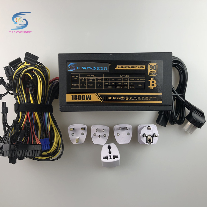 Free Ship PSU Mining Power Supply 1800W Bitcoin Miner R9 380 390 RX 470 480 RX