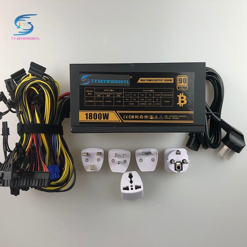 Free Ship PSU Mining Power Supply 1800W Bitcoin Miner R9 380 390 RX 470 480 RX