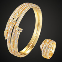 Fashion jewelry Brand Double nail Bangle ring Wedding Jewelry sets Women's Gold color Bangle Rings Accessory Sets 2201100195