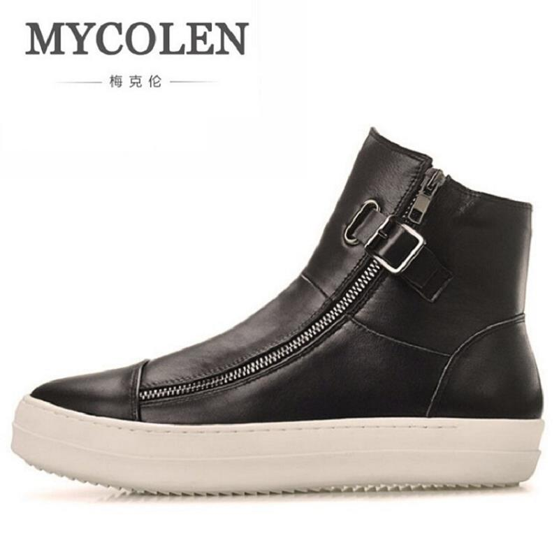 MYCOLEN Men Winter Boots Genuine Leather Man Shoes Casual Fashion Flat Heel Ankle Boots For Male Zipper Leather Mens Shoes fashion young man red casual shoes men luxury high top toe mens falts british trend flat heel men s loafers shoes