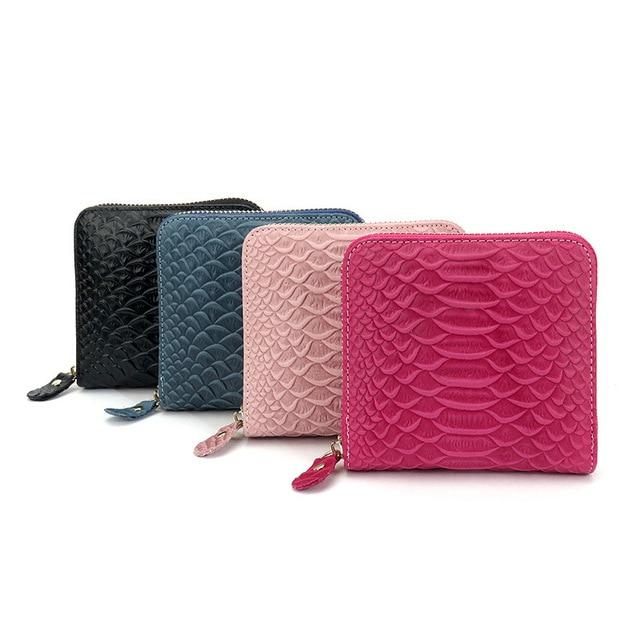 Women Crocodile grain purse short paragraph Ms. wallets Zipper head layer cowhide package Card & ID Holders Card wallets