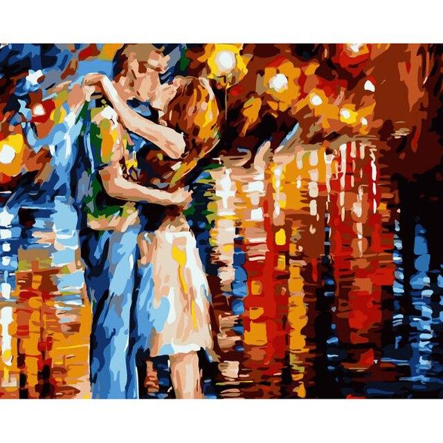 Kuss Diy Malen Nach Zahlen Romantische Moderne Wandkunst Acryl Malen