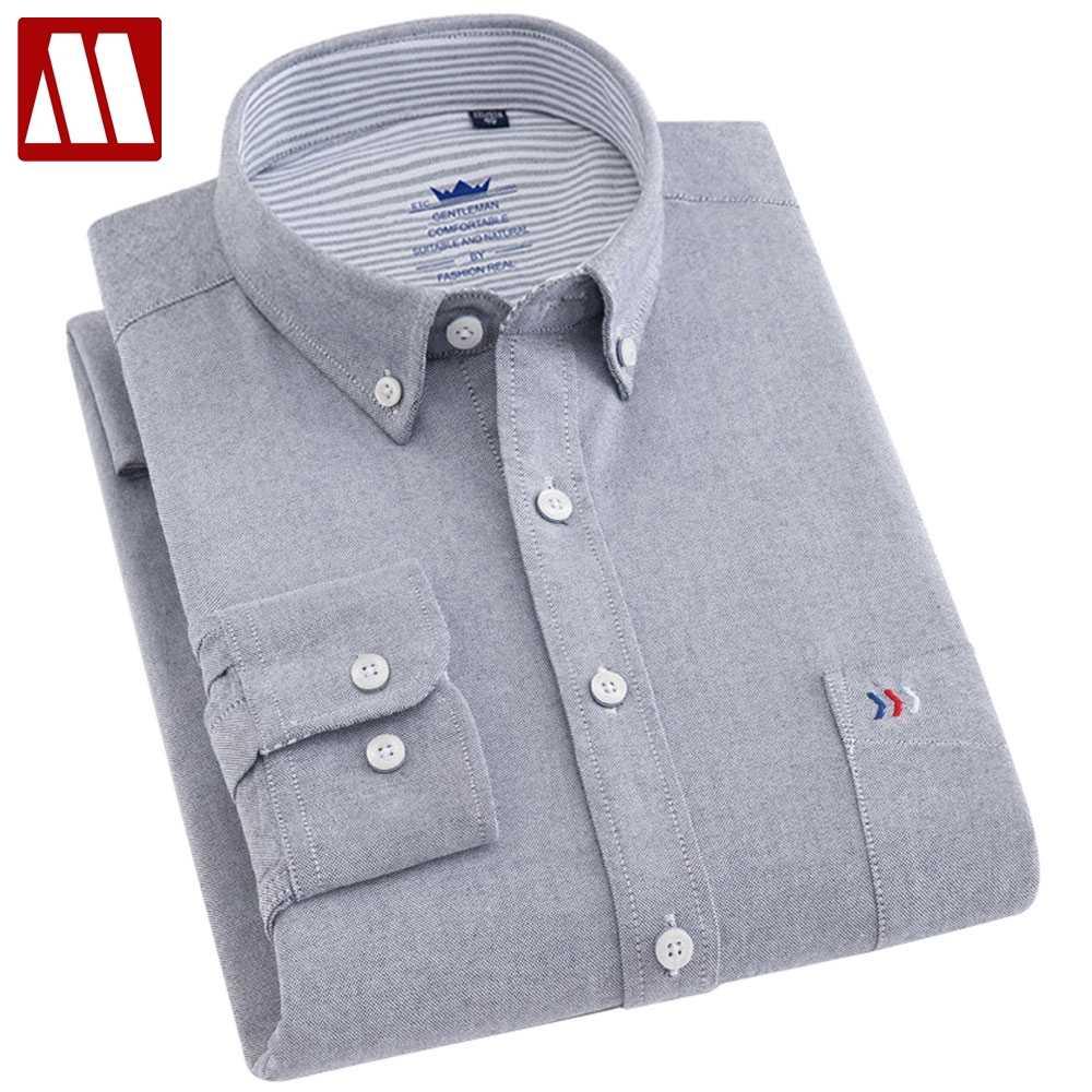 3f4e5ddb24fb Mens Regular-fit Solid Oxford Cotton Shirts Long Sleeve Smart Casual Male Dress  Shirt Workwear