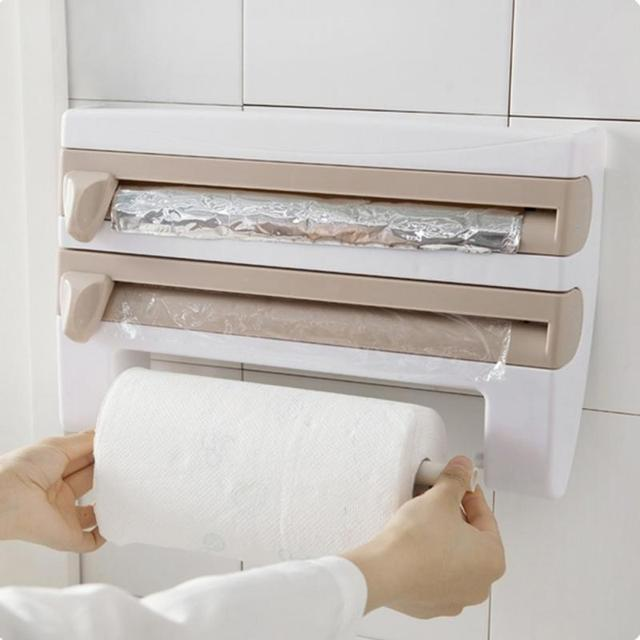 Kitchen Cling Film Storage Rack Shelf Plastic Wrap Cutting Device Wall Hanging Paper Towel Holder