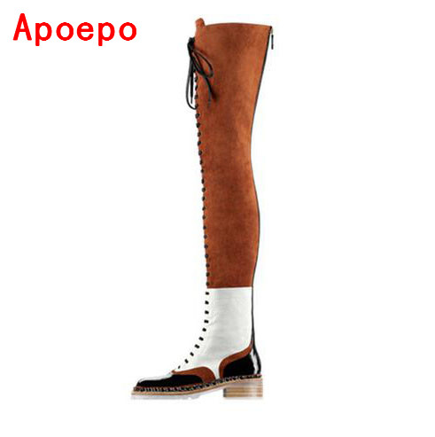 Hot Selling Chain Over The Knee Boots Brown Black Mixed Colors Flat Tight High Boots Woman Winter Long Boots Flats Shoes Size 10