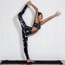 Двойка Йога Комплект Для женщин обтягивающая спортивная одежда спортивный костюм спортивная одежда для бега Мрамор Костюмы спортивный костюм для фитнеса Леггинсы для йоги и тренировок