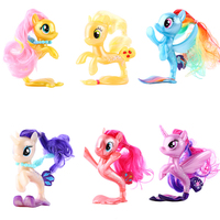 6pcs/lot Lovely Unicorn Colored Fish Ponies Action Figure Model Cartoon Characters Toys Dolls Christmas Little Gift