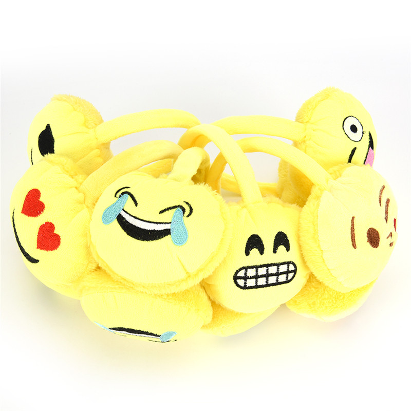 Yellow Child Small  Earmuffs Winter Plush Emoji Headband Earmuffs Fashion Emoticon Ear Warmer Adjustable Earlap For Girls