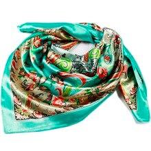 hot sales polyester silk scarf 90cm square hijabs paisley bufanda hombre shawls femme mujer bufandas invierno head shawl