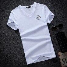 2018 New summer Solid Men s T Shirt Fashion V Neck Long Sleeve T Shirt Mens