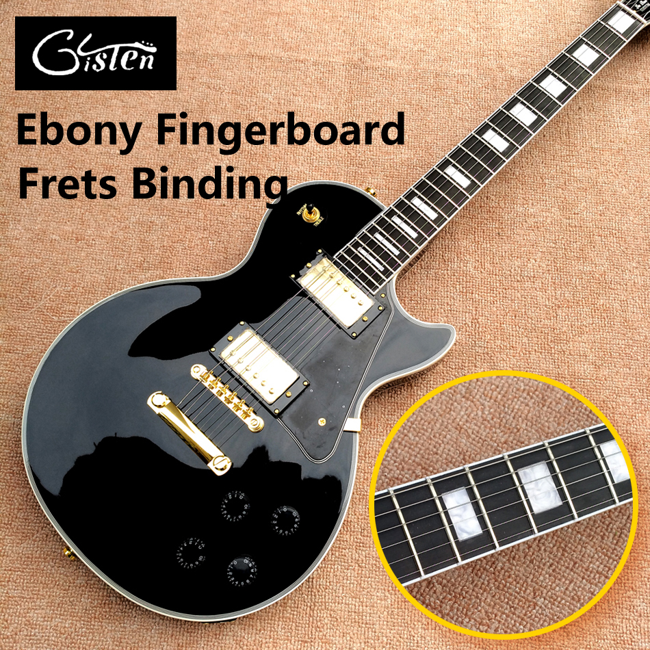 New high-quality custom LP electric guitar, Ebony fingerboard frets binding electric guitar with Gold hardware, free shipping new arrival lp supreme 90th birthday model electric guitar with frets binding gold goldtop 140401