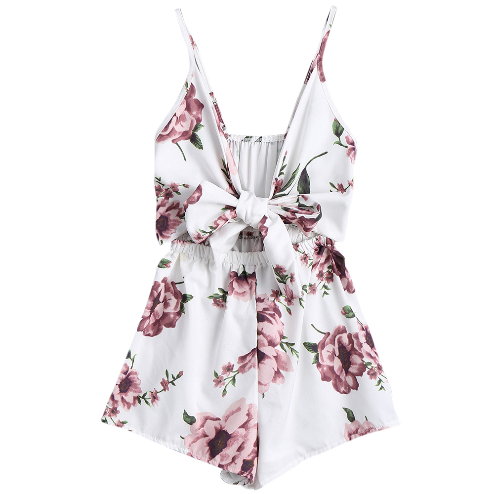 e96b6dd5b33 Kenancy Sexy Women Playsuits Rompers Bohemian Floral Print Plunge Spaghetti  Strap Rompers Jumpsuits Summer Women Beach Playsuits-in Rompers from Women s  ...
