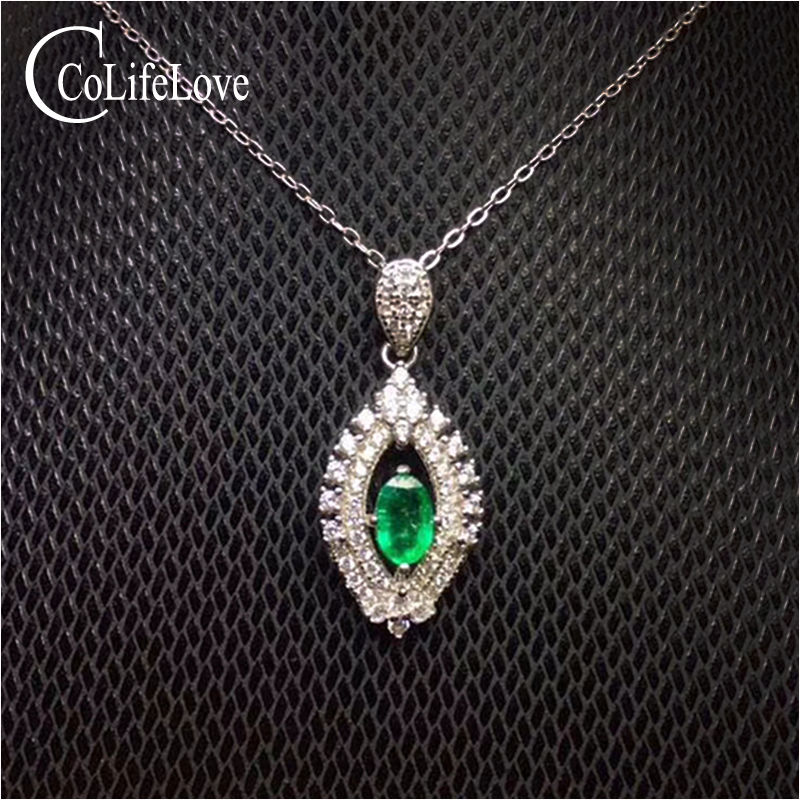 Elegante zilveren emerald hanger voor vrouw 4mm * 6mm natuurlijke Zambia emerald ketting hanger voor party 925 zilver emerald sieraden-in Hangers van Sieraden & accessoires op  Groep 1