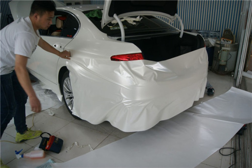 Image 5 - Car Styling Chrome Pearl Ceramic White Vinyl for car wrapping Pearl matte white satin film with Size: 10/20/30/40/50/60x152cm-in Car Stickers from Automobiles & Motorcycles