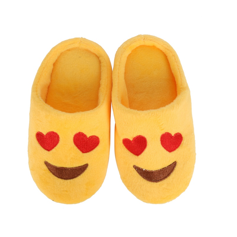 Hot Winter Children Girls Boys Expression Package Cotton Slippers love Smiling Face Section Flip Flop