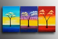 Free Shipping New Handpainted 3 Panels Modern Wal Loil Paintingcolorful Cloud Branches Abstract Home Decorative Art