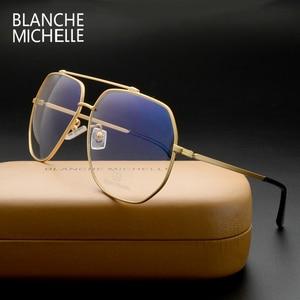Image 4 - ステンレス鋼青色光メガネ女性男性 UV400 眼鏡フレームクリアメガネフレーム光学式ゴールド眼鏡メガネとボックス Glasses Women glasses Men glasses frame