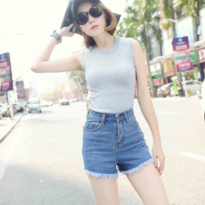 2016 Summer Slim high waist denim shorts flash sexy tassel shorts Women Blue Outer wear wide leg loose Retro Short jeans Z2162