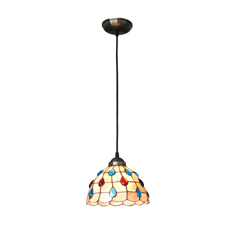 Height Adjustable 8 Inch Tiffany Style Stained Glass Hanging Light Dining Room Bedroom Corridor Pendant Lamp E27/E26 Bulbs PL722 16inch tiffany style rose glass pendant light bedroom study color glass lamp e27 110 240v