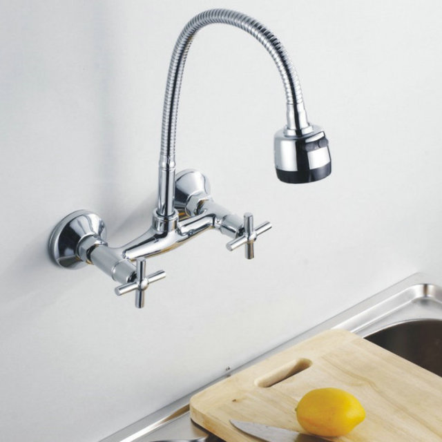 Wall Mounted Flexible Rotate Mixer tap Faucet Bathroom Basin ...