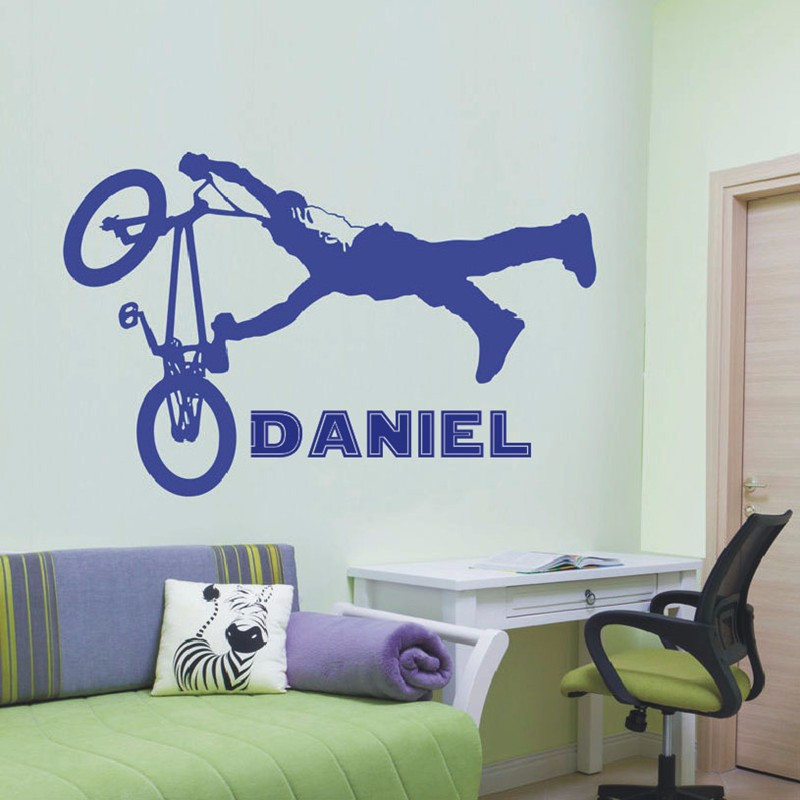 T07055 Vinyl Wall Transfer Decal Wall Stickers For Kids Room Bedroom Wall Art Personalised Boys Kids BMX Jump Wall Sticker