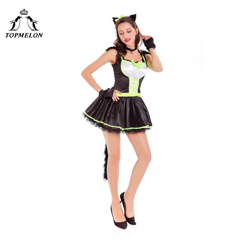 TOPMELON Cute Cat Kitty Cosplay Mini Dress Women Clothing Clothes Halloween Holiday Shows Plays Costume Set with Tail