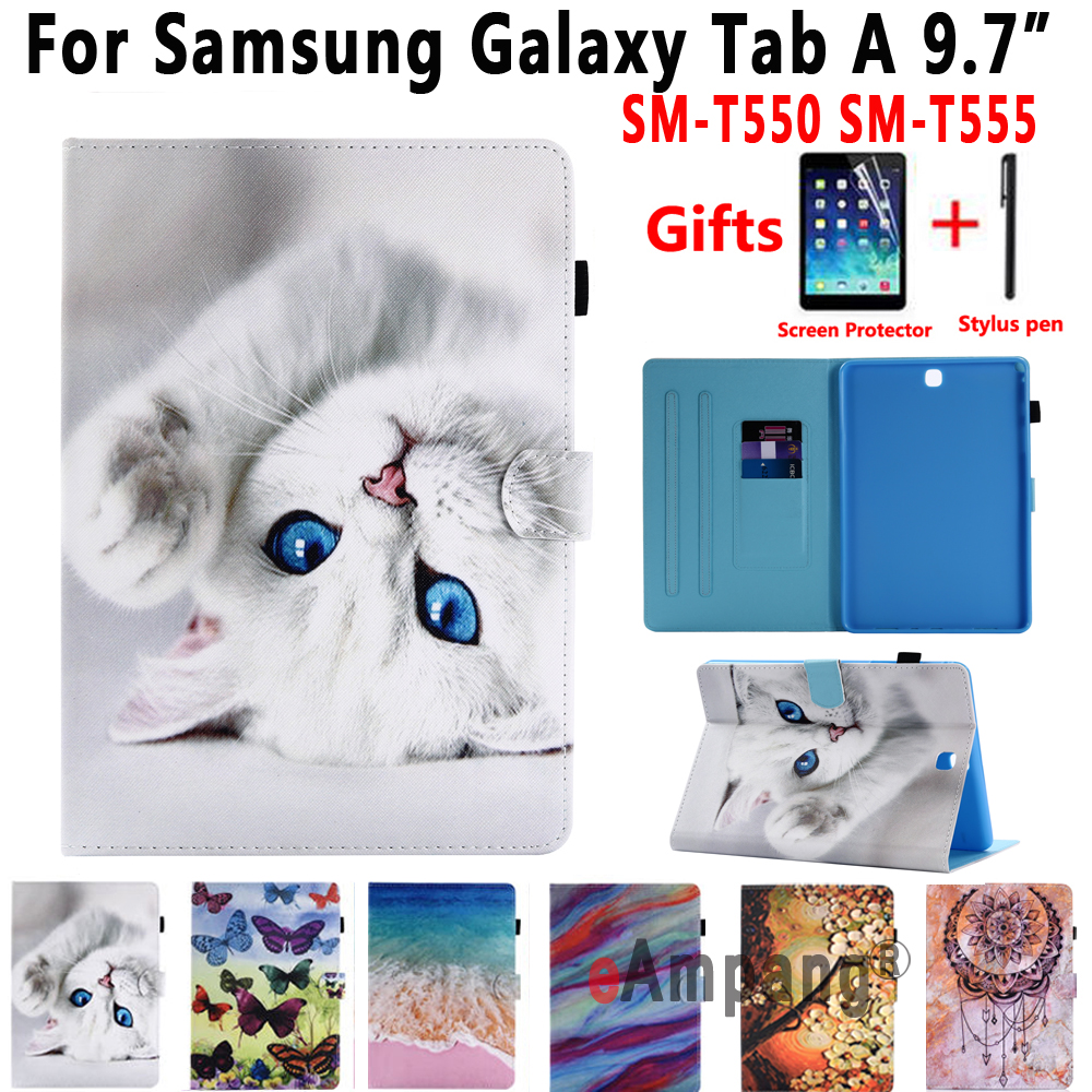 Smart Case For Samsung Galaxy Tab A 9.7 T550 T555 P550 SM-T550 SM-T555 Cover Funda Stand Pu Leather Case For Samsung Tab A 9.7