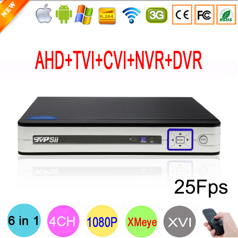 Silver Panel Hi3521A 6 in 1 XMeye 4 Channel 4CH 1080P 2MP 25Fps Realtime Hybrid Coaxial NVR TVI CVI AHD CCTV DVR Free Shipping silver panel hi3521a 5 in 1 xmeye 4 channel 4ch 1080p 2mp 25fps realtime hybrid coaxial nvr tvi cvi ahd cctv dvr free shipping
