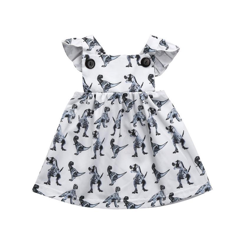 CHAMSGEND dress for girls Infant Toddle Dinosaur Bow Cartoon dress for girls Sleeveless Clothes Princess Dress mar14