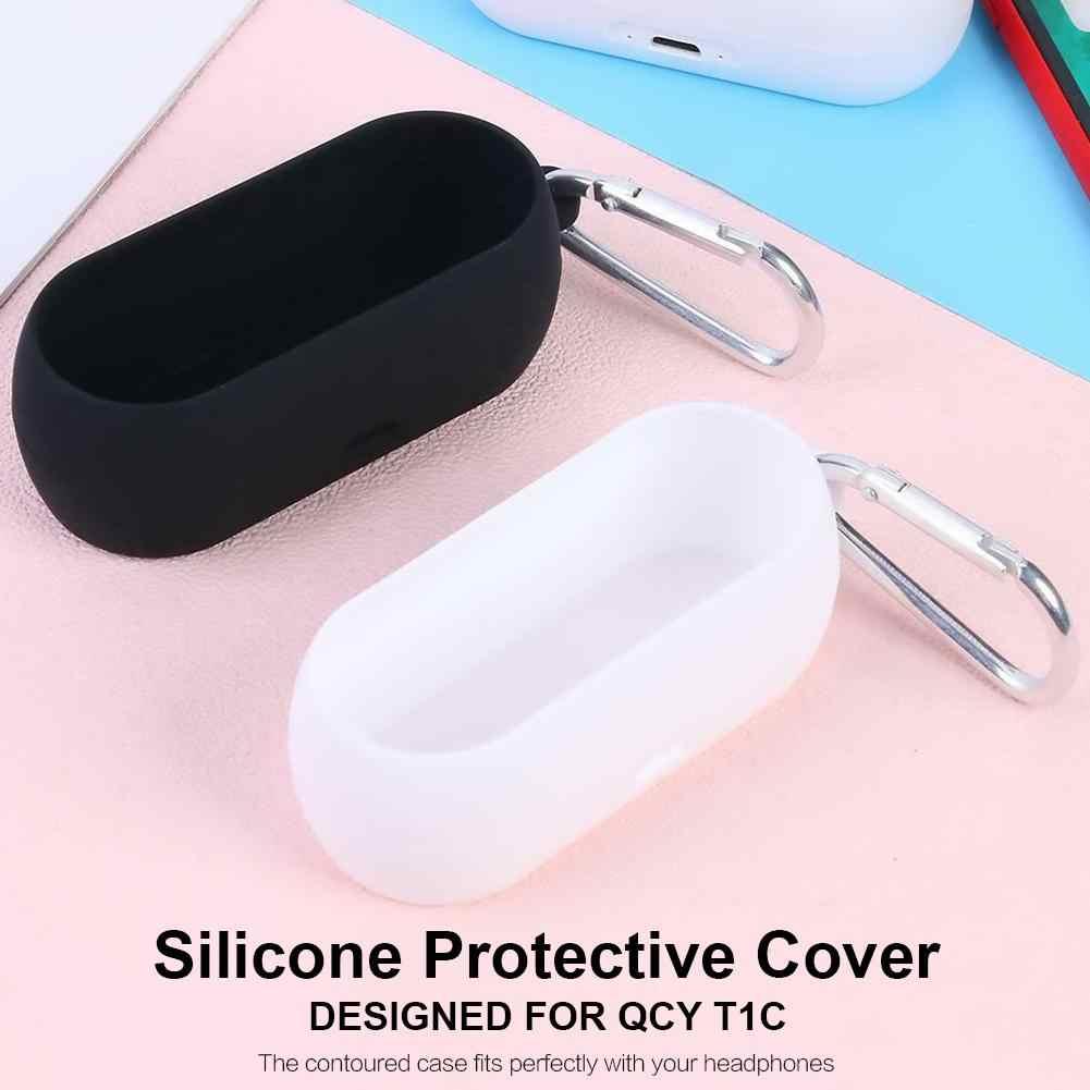 Etui na słuchawki dla QCY T1C bezprzewodowy zestaw słuchawkowy dla aktywnych silikonowy futerał ochronny pokrywa odporny na wstrząsy z Anti-Lost hak przenośne walizki