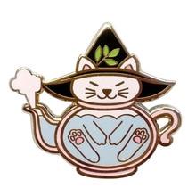 Cat Teapot Pin Halloween Witch Brewing Over Kettle Kawaii Badge Enamel Pin