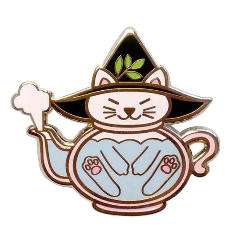 고양이 주전자 핀 할로윈 마녀 양조 주전자 Kawaii 배지 에나멜 핀