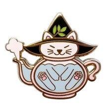 Pin de tetera para gato, colgante de tetera para Halloween, Pin esmaltado con insignia Kawaii