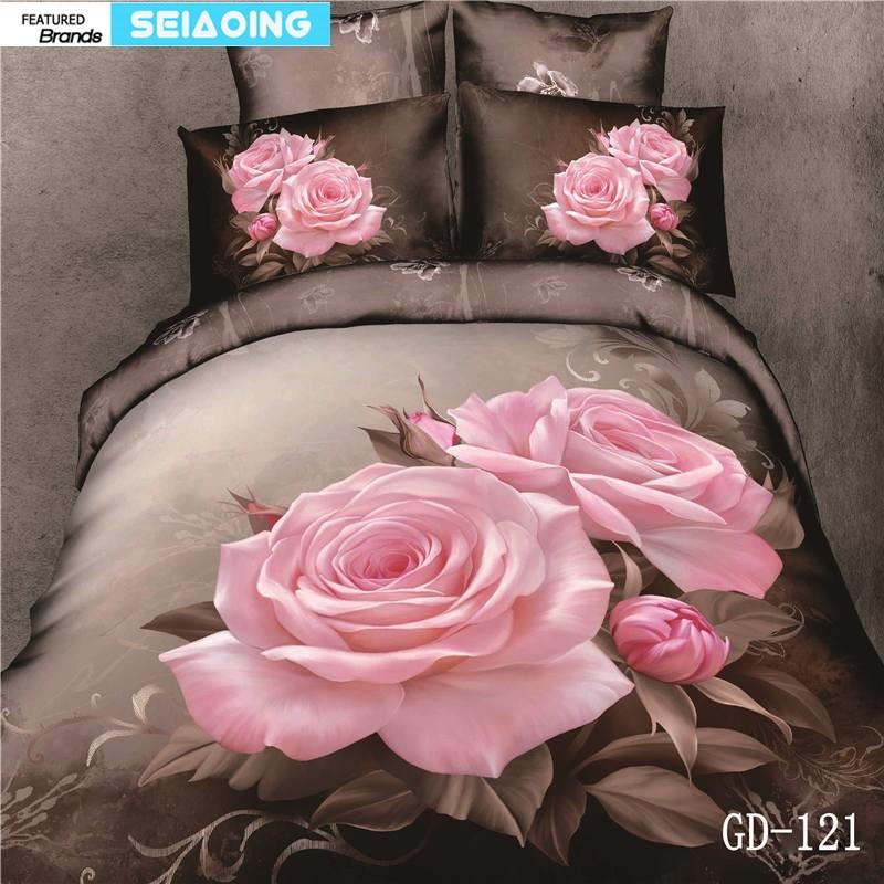 Morden 3d duvet cover 핑크 로즈 플로랄 침구 세트 퀸 킹 사이즈 베드 리넨 소녀 웨딩 장식 플랫 시트 베개 커버 100% cotton-에서침구 세트부터 홈 & 가든 의  그룹 1