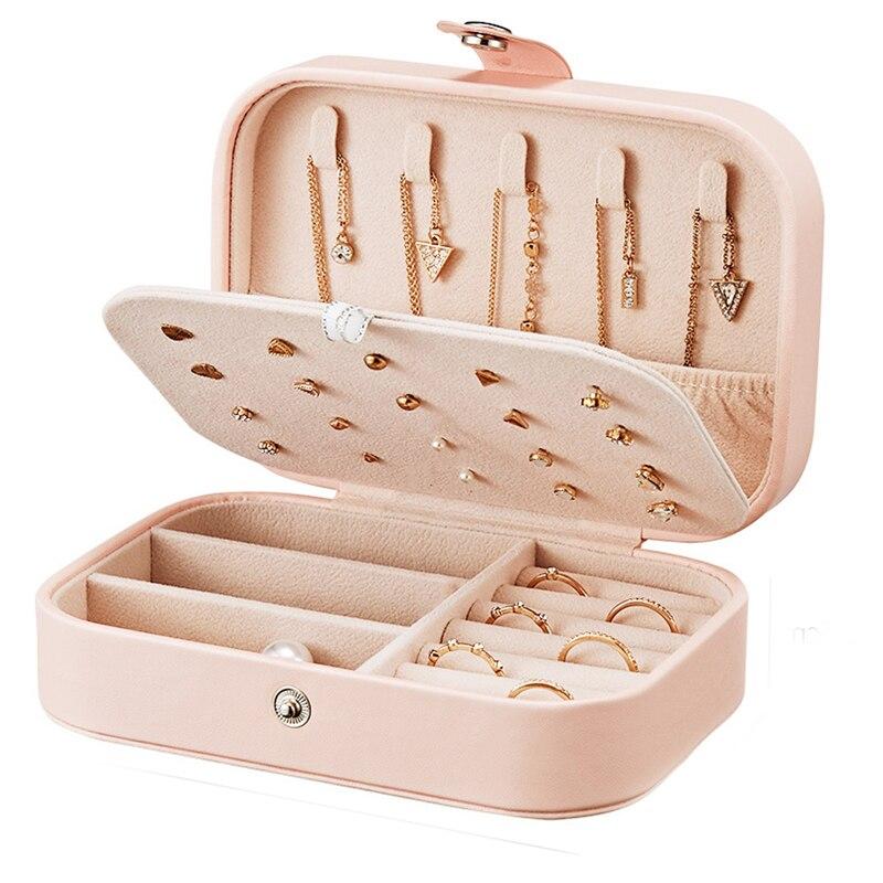 Senhora caixa de jóias de couro do plutônio caixa de armazenamento anel exibição caso organizador de jóias portátil para colares joyeros organizador de joyas