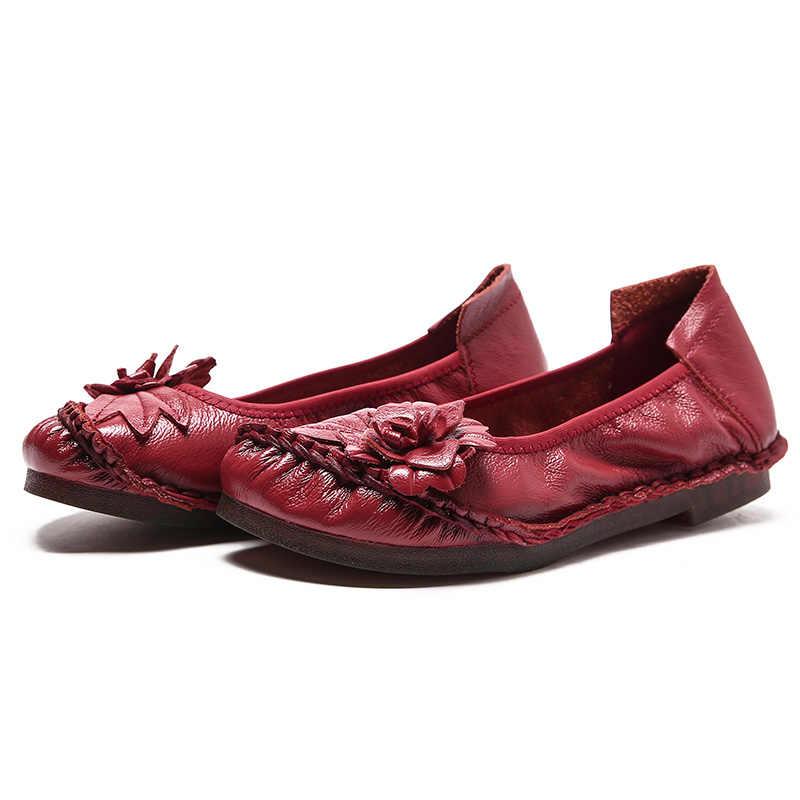 Zapatos planos de cuero genuino Retro 2019 para damas mocasines suaves de cuero cosido a mano zapatos casuales femeninos zapatos de mujer Vintage sólidos