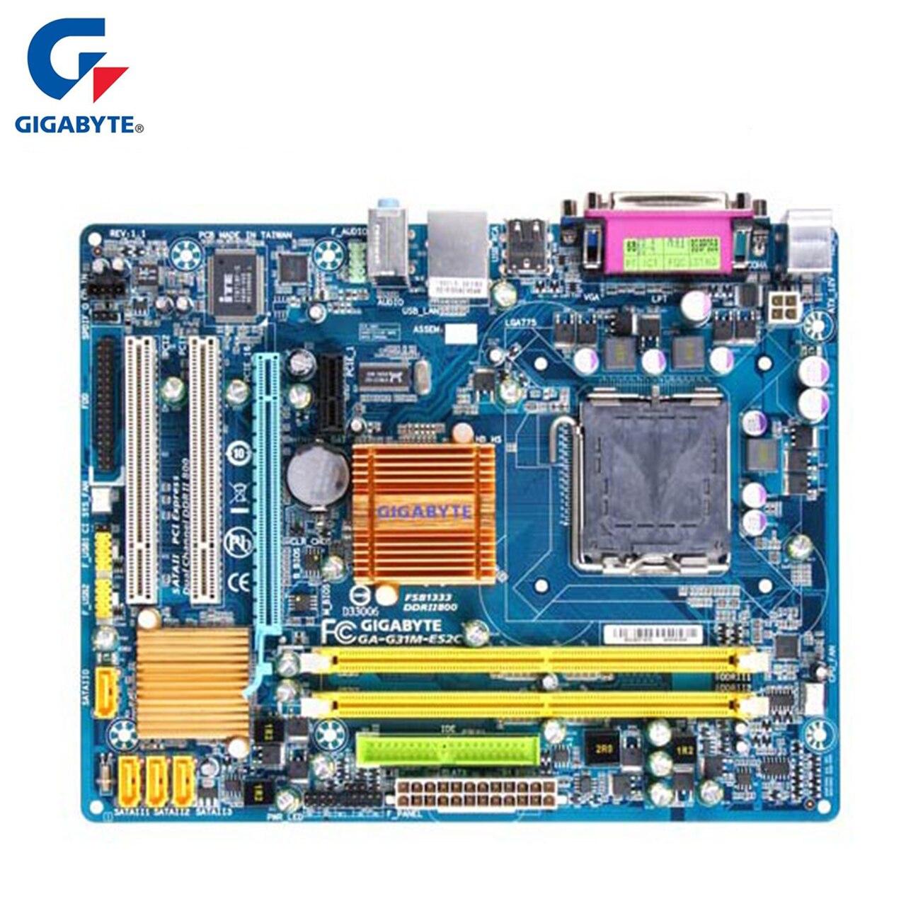 Gigabyte GA-G31M-ES2C 100% Original Motherboard LGA 775 DDR2 4G G31 G31M-ES2C Desktop Mainboard SATA II Systemboard Used
