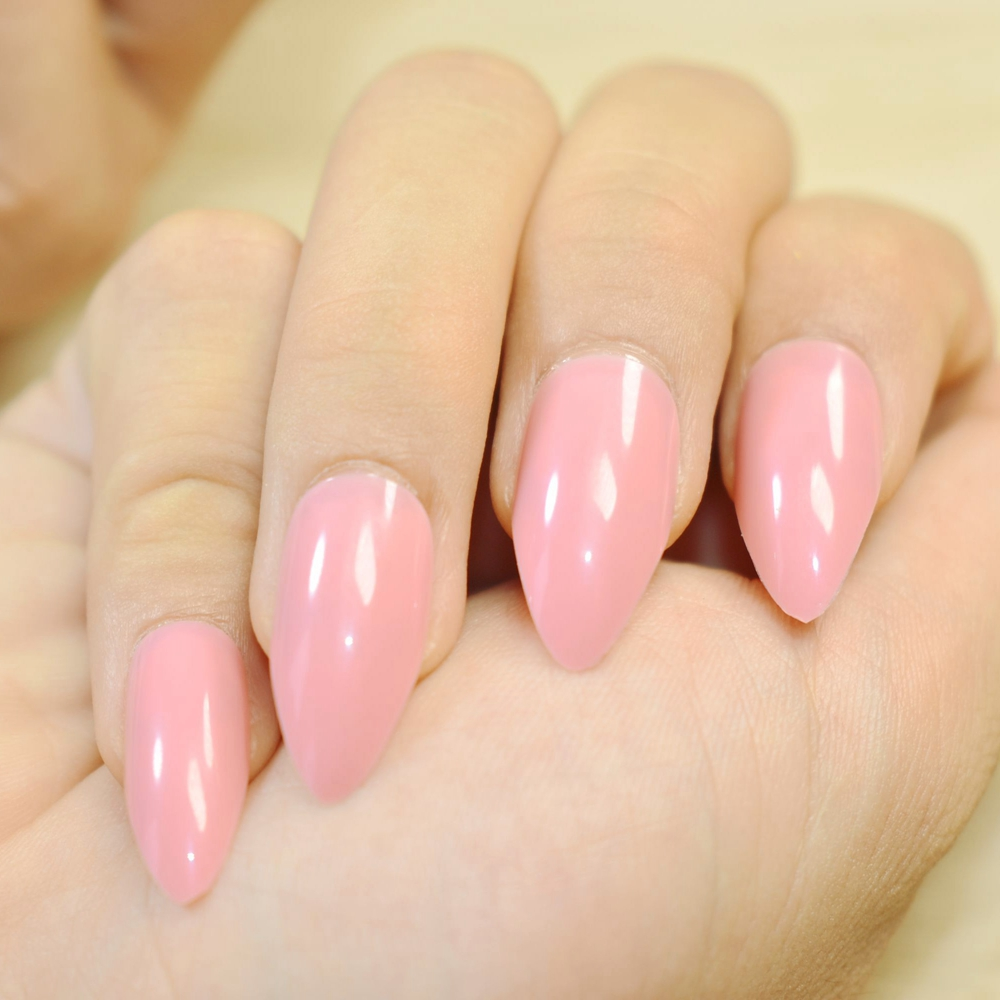 24pcs Full Cover Stiletto Nails Tips Nature Beige Fake Artificial ...