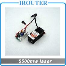 5.5 w 450nm módulo de láser azul, piezas de la máquina de grabado láser, corte por láser TTL módulo 5500 mw láser tubo