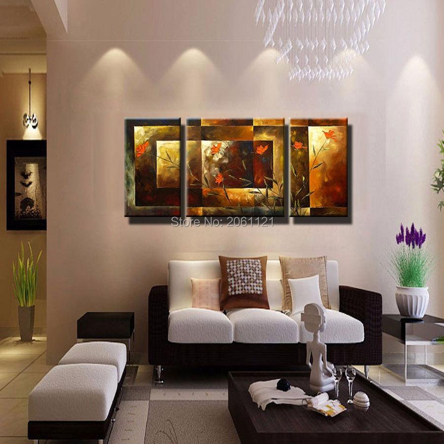 Tangan-dicat ukuran Besar 3 pcs / set abstrak wall art home decor - Dekorasi rumah - Foto 2