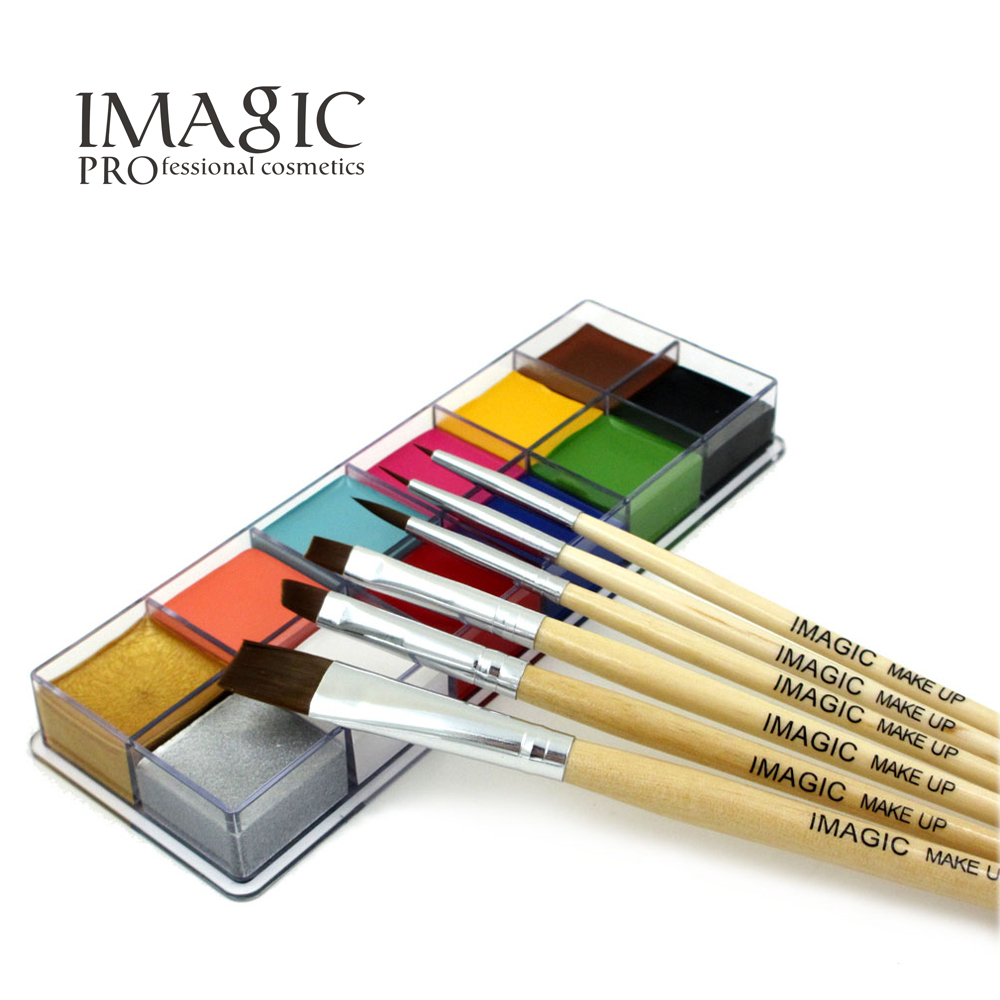 IMAGIC Halloween Face Body Paint Oil Painting Art Make Up Set Tools Party Fancy Dress 12 Flash Tattoo Color+6pcs Paint Brush 6 color party cosplay fun face body painting pen 6 pcs