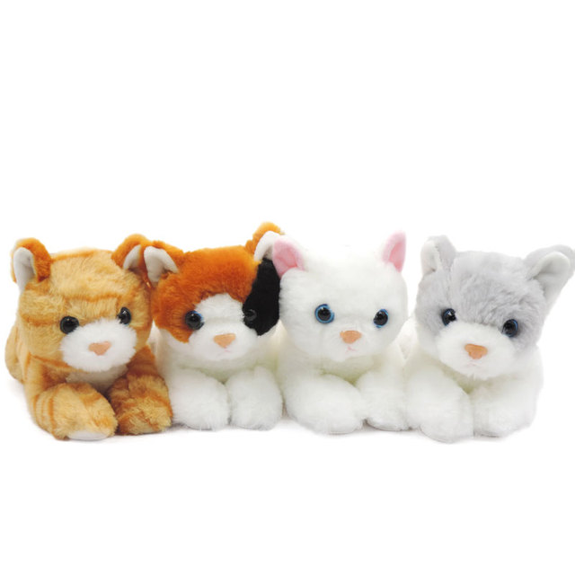 4pcs Lot Small Kawaii Leg Stretching Kittens Plush Toy Stuffed