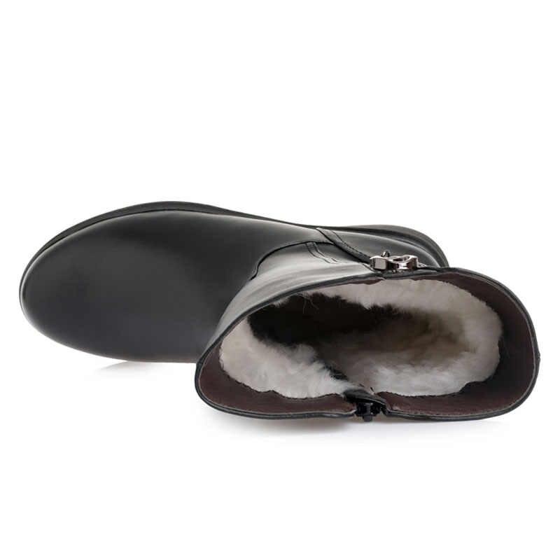 DRKANOL büyük boy 35-43 kadın kar botları kış kalın yün sıcak orta buzağı çizmeler kadın moda yumuşak deri düşük kama pamuklu bot
